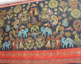 Half Meter Cotton Linen Fabric,Craft,Ethnic Style,Elephant,Ancient Paintings,Bohemia,Bird,Camel,Pattern,fabric  (QT62)