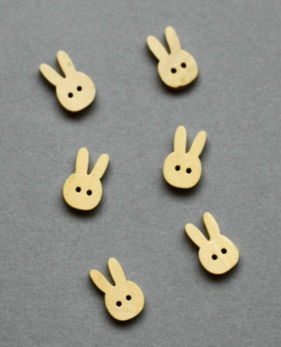 Wooden Bottons Set,Bunny,Rabbit,Shape,19mm Height-(6 in a set)(FN23)
