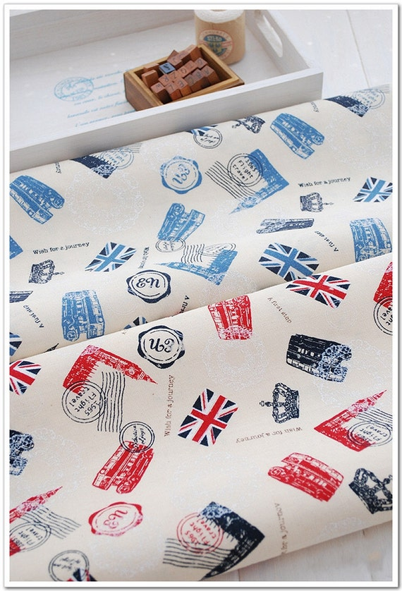 half yard Cotton Linen Fabric,Craft,Retro Bus,Postmark,Crown,Big Ben,British Flag,Journey,Pattern,Vintage Style,2 Kinds For Choice  (C207)