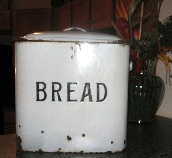 White Enamel Granite VINTAGE Bread Box, Embossed Letters REAL DEAL