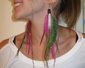 Peacock sword feather earings w/Agate beads
