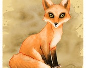 Red Fox - 4x4 Mini Print of Watercolor and Digital Painting
