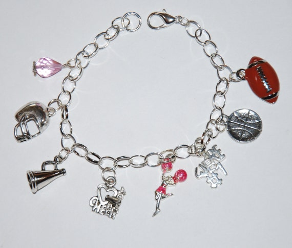 Cute Silver Cheerleading Charm Bracelet With Eight By Beckyhmn