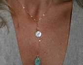 wedding jewlery 14k gold Necklace, teardrop turquoise gemstone pearl necklace Lariat for Bride, weddings bridemaid gift