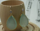 Blue Chalcedony and vermeil, gold filled drop Earrings