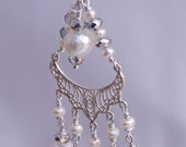 Chandalier earring Pearl, Crystal, Sterling Silver