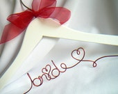 Valentine's Day Wedding Dress Hanger, Red Script with Ribbon or Customize