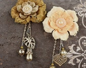 Allegra Layered Lace Flowers with pearl centers and dangling trinkets by Prima Marketing