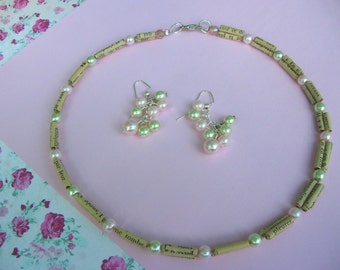 handmade french paper and pearls necklace and earring set