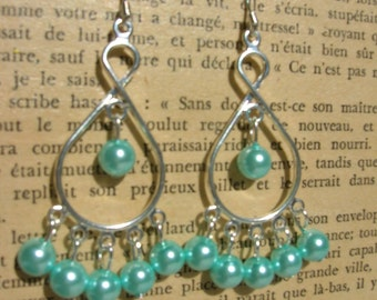 paris blue glass pearl chandelier earrings