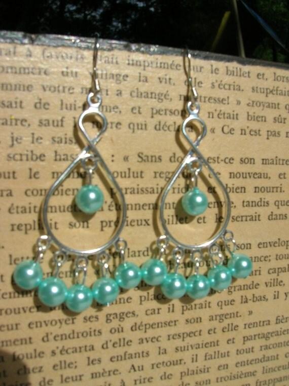 paris blue glass pearl chandelier earrings