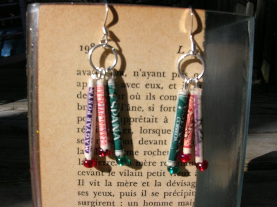 recycled postage stamp earrings