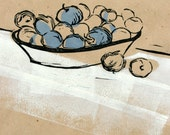 Multi color hand pulled print - Apples for Eva