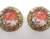Victorian Rose Earrings Made in West Germany c1940