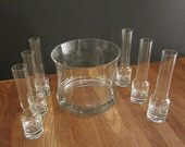 Vintage Seven Piece Vodka Sippers and Ice Bowl c1980