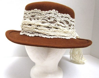 Wool Hat, Rust Color With White Lace Trim  Made in The USA c.1970's