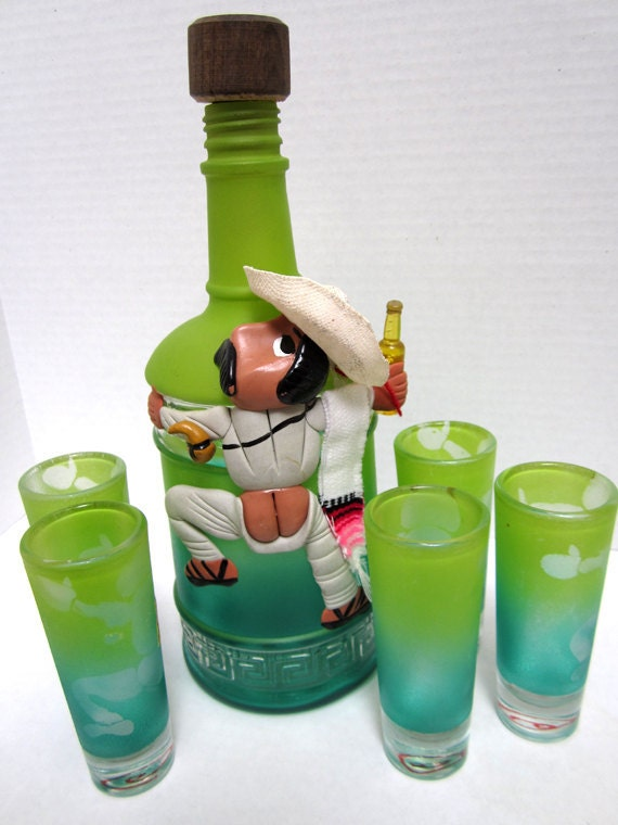 Reserved for Robin Vintage Lime Green Whimsical Tequila Decanter and 5 Shooter Glasses c.1960