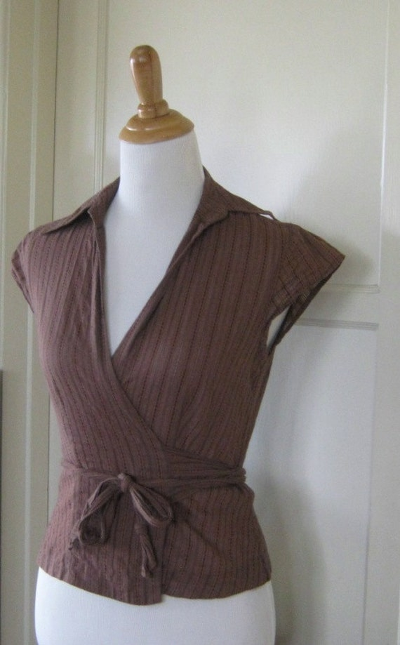 Sexy '70s Wrap Shirt - Pretty Brown Vintage Seventies Wrap Shirt - Size Small
