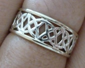 SOLID 9ct Gold and Silver Celtic Arch KELTIC Ring - G01