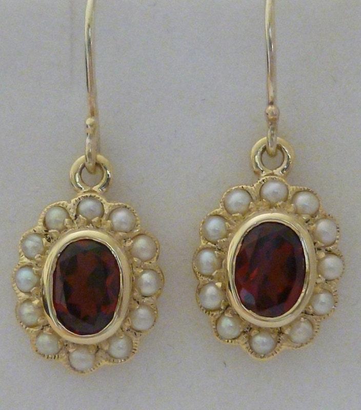 Vintage Garnet Earrings With Pearls Solid Gold 9ct 9k 14k
