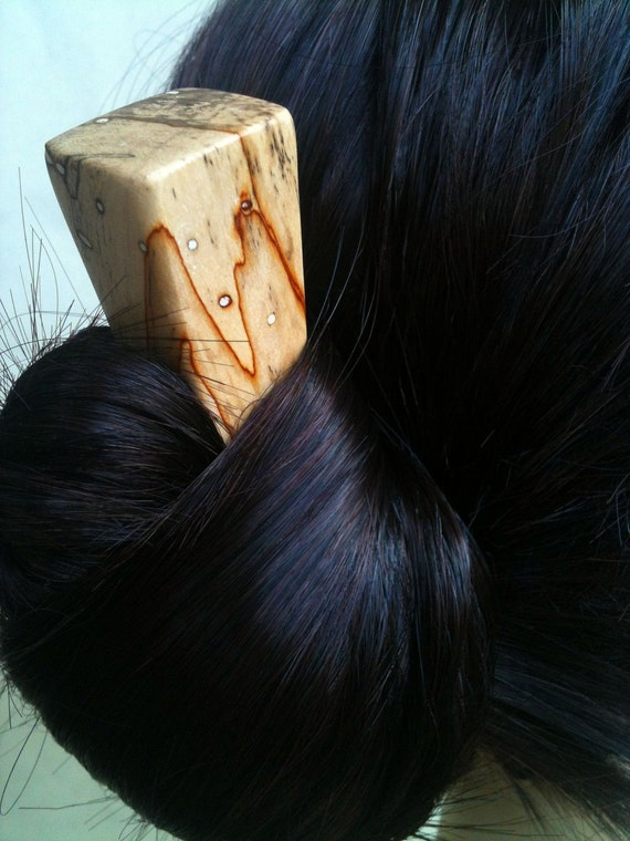 Hair Stick Red Line Spalted Lama Wood