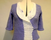 Lilac and white large wrap cardigan crochet