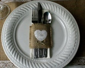 Burlap silverware holders for weddings, FALL WEDDINGS table decor, country chic, French country weddings