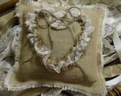 Burlap ring bearer wedding pillow, wedding pillow, country chic wedding, rustic wedding