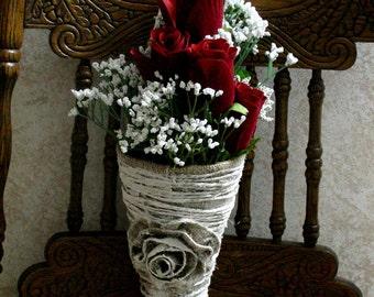Burlap wedding cones, Wedding cones for aisle and pews,