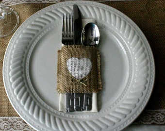 Burlap silverware holders, Country wedding decorations
