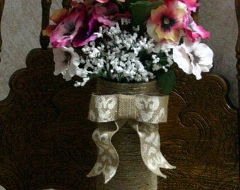 Burlap BRIDE and GROOM flower vase, Burlap wedding table decorations, Mothers day gift, Country wedding centerpiece, French country