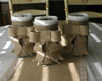 Burlap wedding vase, FALL Wedding centerpieces, Country chic wedding  French counrty, rustic country