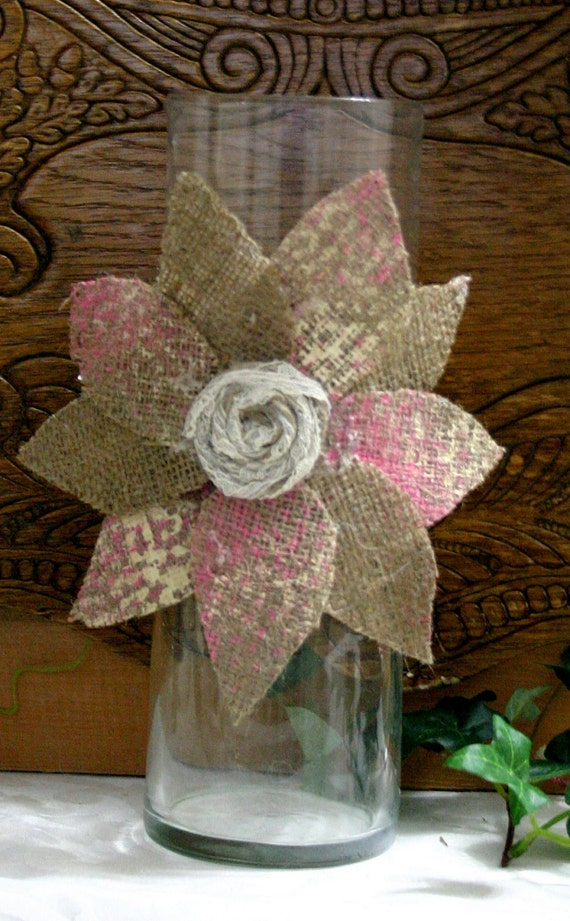 Items Similar To Burlap Wedding Centerpiece Candle And Flower Vase Covers Country Chic Wedding