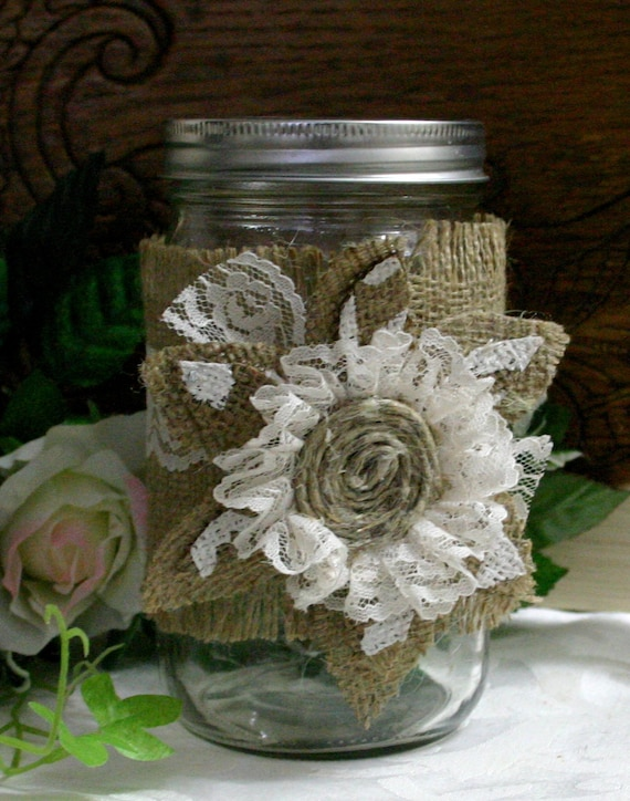 burlap wedding jar burlap wedding decor burlap flower and candle
