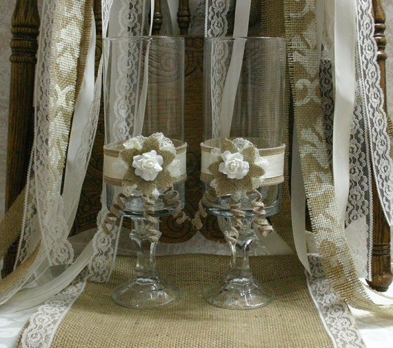 Items similar to burlap bride and groom candle holders - French country table centerpieces ...