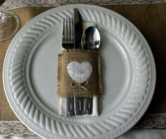 Burlap silverware holders, Country wedding decorations, Burlap wedding decorations 100 for 150