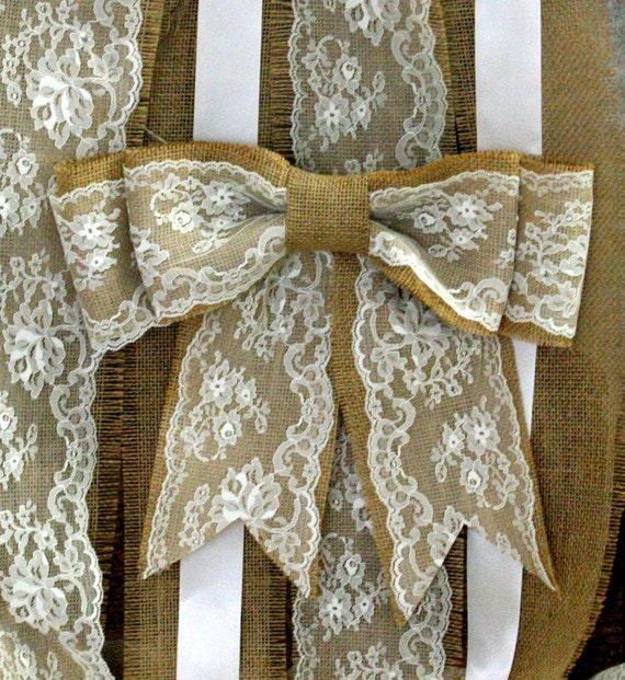 Shabby Chic Rustic Wedding Ideas: Items Similar To Burlap Decorative Wedding Bows, Shabby