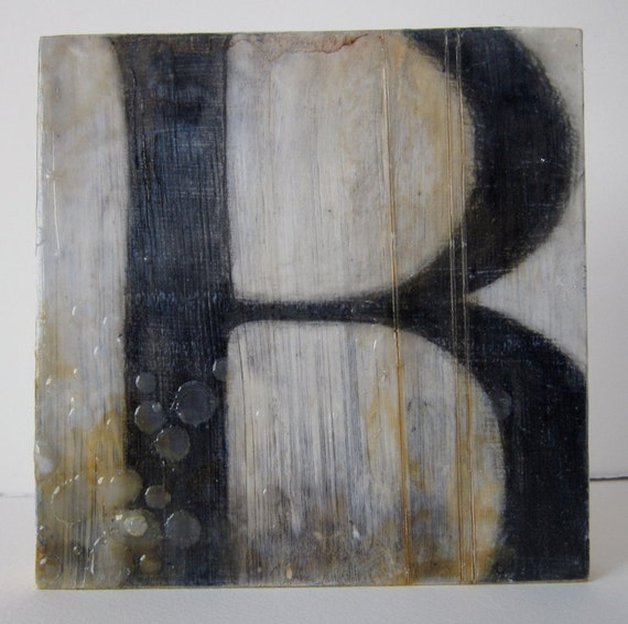 B - an original encaustic collage painting