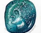 Blue green ancient Egyptian coin parody with caricatured profile head portrait original linocut print and signed