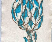 Artichoke botanical print or kitchen vegetable print in gold and turquoise. Original limited edition linocut.