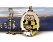 Hufflepuff Owl Necklace, Harry Potter Jewelry, Wearable Art