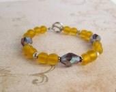 LSU Bracelet, LSU Jewelry, Yellow and Purple Bracelet, Beaded Bracelet, Toggle clasp Bracelet