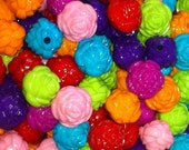 25 ct Acrylic Chunky Flower Beads 13mm - Mixed Color Assortment (CBFL13-1000)