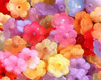 150 ct Frosted Flower Bead Caps 12mm Rainbow Mix (CBFLC12-FT1000)