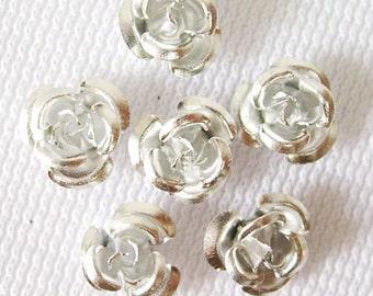 50 Metal Flower Beads 6mm Aluminum Silver Rose Findings (SBMFL6-1019)