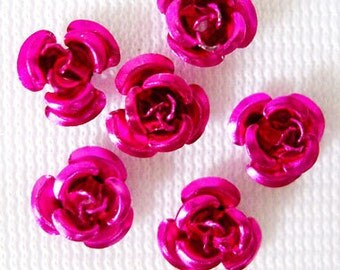 50 Metal Flower Beads 6mm Aluminum Hot Pink Rose Findings (SBMFL6-1009)