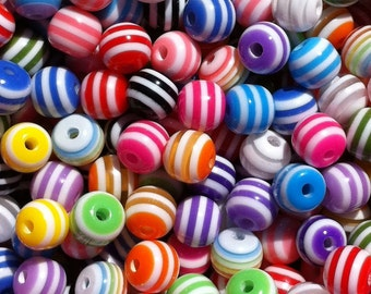 150 ct Striped Beads 6mm Resin Acrylic Rainbow Mix