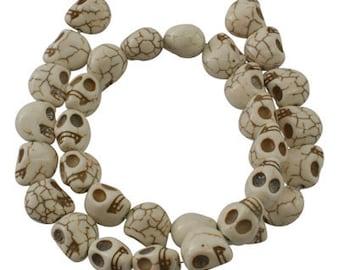 8 ct Skull Bead 12mm Howlite White Halloween Bead (CBHOW12-SK1005)