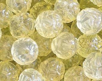 25 ct Transparent Acrylic Chunky Beads 16mm Yellow Flower Imprint (CBFL16-T1007)