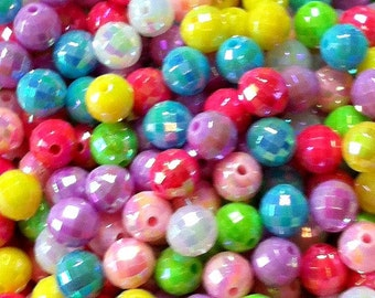 100 ct AB Acrylic Beads 8mm Faceted Round - Mixed Color Assortment (SBFC8-AB1000)